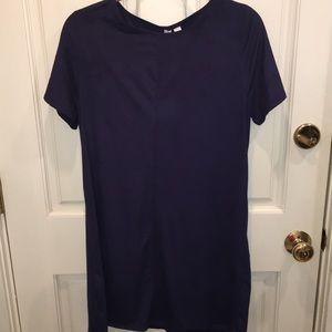 NWT Francesca's Navy Blue Suede T-Shirt Dress